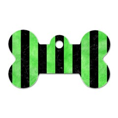 Stripes1 Black Marble & Green Watercolor Dog Tag Bone (one Side)