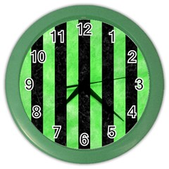 Stripes1 Black Marble & Green Watercolor Color Wall Clocks