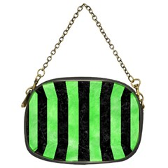 Stripes1 Black Marble & Green Watercolor Chain Purses (one Side)