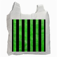 Stripes1 Black Marble & Green Watercolor Recycle Bag (one Side)