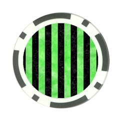 Stripes1 Black Marble & Green Watercolor Poker Chip Card Guard (10 Pack)