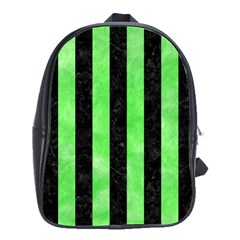 Stripes1 Black Marble & Green Watercolor School Bag (large)