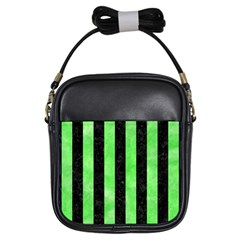 Stripes1 Black Marble & Green Watercolor Girls Sling Bags