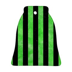 Stripes1 Black Marble & Green Watercolor Ornament (bell)