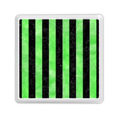Stripes1 Black Marble & Green Watercolor Memory Card Reader (square)