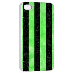 Stripes1 Black Marble & Green Watercolor Apple Iphone 4/4s Seamless Case (white)