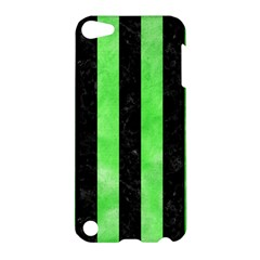 Stripes1 Black Marble & Green Watercolor Apple Ipod Touch 5 Hardshell Case