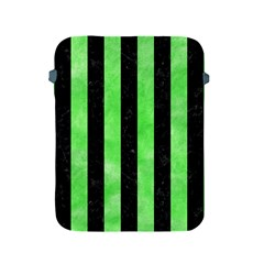 Stripes1 Black Marble & Green Watercolor Apple Ipad 2/3/4 Protective Soft Cases