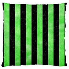 Stripes1 Black Marble & Green Watercolor Standard Flano Cushion Case (one Side)