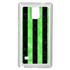 Stripes1 Black Marble & Green Watercolor Samsung Galaxy Note 4 Case (white)