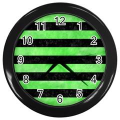 Stripes2 Black Marble & Green Watercolor Wall Clocks (black)