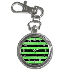 Stripes2 Black Marble & Green Watercolor Key Chain Watches