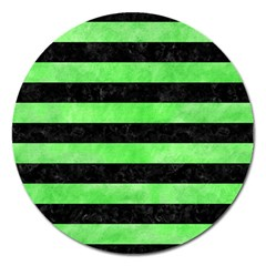 Stripes2 Black Marble & Green Watercolor Magnet 5  (round)