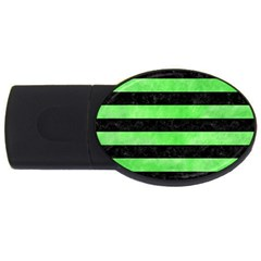 Stripes2 Black Marble & Green Watercolor Usb Flash Drive Oval (4 Gb)