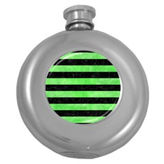 Stripes2 Black Marble & Green Watercolor Round Hip Flask (5 Oz)