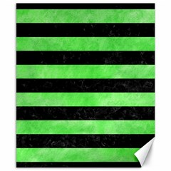 Stripes2 Black Marble & Green Watercolor Canvas 8  X 10