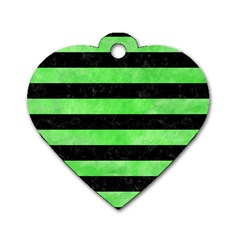 Stripes2 Black Marble & Green Watercolor Dog Tag Heart (two Sides)