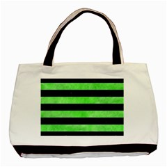 Stripes2 Black Marble & Green Watercolor Basic Tote Bag (two Sides)