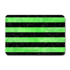 Stripes2 Black Marble & Green Watercolor Small Doormat
