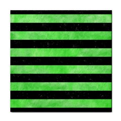 Stripes2 Black Marble & Green Watercolor Face Towel