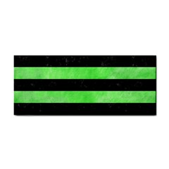 Stripes2 Black Marble & Green Watercolor Cosmetic Storage Cases