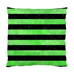 Stripes2 Black Marble & Green Watercolor Standard Cushion Case (one Side)