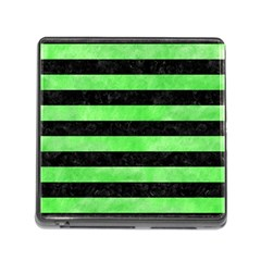 Stripes2 Black Marble & Green Watercolor Memory Card Reader (square)