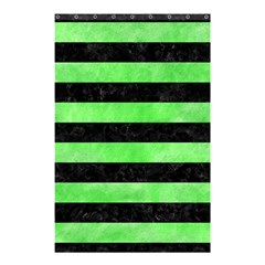 Stripes2 Black Marble & Green Watercolor Shower Curtain 48  X 72  (small)
