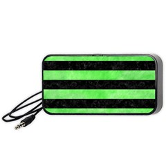 Stripes2 Black Marble & Green Watercolor Portable Speaker