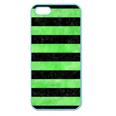 Stripes2 Black Marble & Green Watercolor Apple Seamless Iphone 5 Case (color)