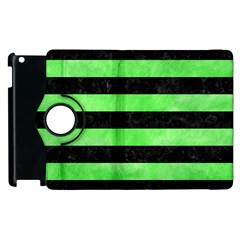 Stripes2 Black Marble & Green Watercolor Apple Ipad 3/4 Flip 360 Case