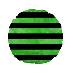 Stripes2 Black Marble & Green Watercolor Standard 15  Premium Round Cushions