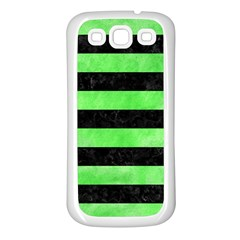 Stripes2 Black Marble & Green Watercolor Samsung Galaxy S3 Back Case (white)