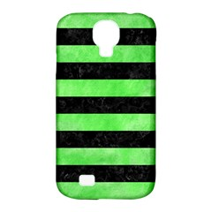 Stripes2 Black Marble & Green Watercolor Samsung Galaxy S4 Classic Hardshell Case (pc+silicone)