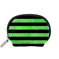 Stripes2 Black Marble & Green Watercolor Accessory Pouches (small)
