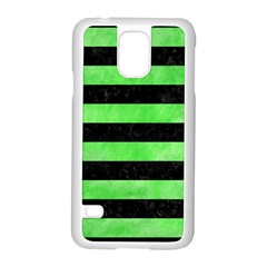 Stripes2 Black Marble & Green Watercolor Samsung Galaxy S5 Case (white)