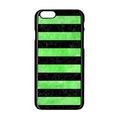 Stripes2 Black Marble & Green Watercolor Apple Iphone 6/6s Black Enamel Case