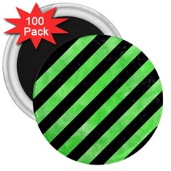 Stripes3 Black Marble & Green Watercolor 3  Magnets (100 Pack)