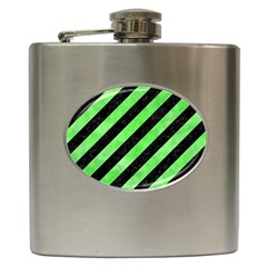 Stripes3 Black Marble & Green Watercolor Hip Flask (6 Oz)