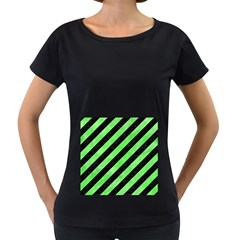 Stripes3 Black Marble & Green Watercolor Women s Loose Fit T Shirt (black)