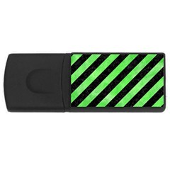 Stripes3 Black Marble & Green Watercolor Rectangular Usb Flash Drive