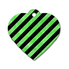 Stripes3 Black Marble & Green Watercolor Dog Tag Heart (two Sides)