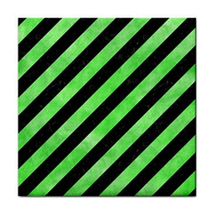 Stripes3 Black Marble & Green Watercolor Face Towel
