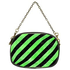 Stripes3 Black Marble & Green Watercolor Chain Purses (one Side)