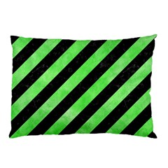 Stripes3 Black Marble & Green Watercolor Pillow Case