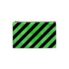 Stripes3 Black Marble & Green Watercolor Cosmetic Bag (small)