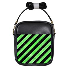 Stripes3 Black Marble & Green Watercolor Girls Sling Bags