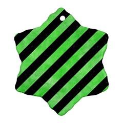 Stripes3 Black Marble & Green Watercolor Ornament (snowflake)