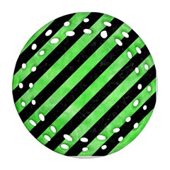 Stripes3 Black Marble & Green Watercolor Round Filigree Ornament (two Sides)