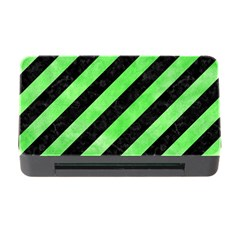 Stripes3 Black Marble & Green Watercolor Memory Card Reader With Cf